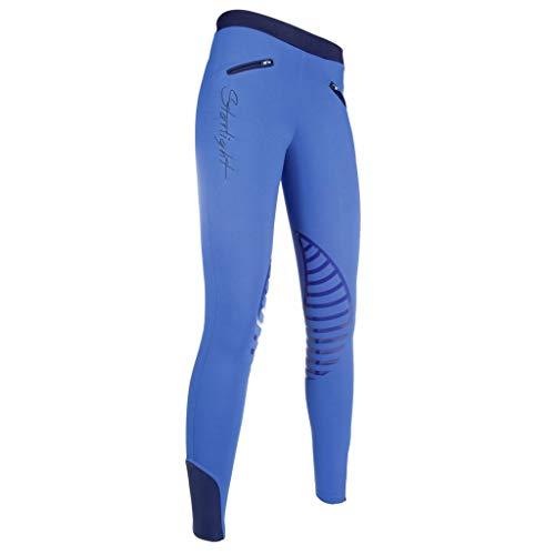 HKM Reitleggings-Starlight-Silikon-Kniebesatz Pantalon Mixte, Kornblau/Dunkelblau, 36