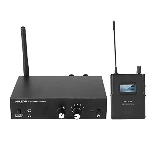 VBESTLIFE In Ear Wireless Monitorsystem UHF Stereo Wireless Monitorsystem 670-680MHZ für ANLEON (1 Sender und 1 Empfänger)(eu-stecker)