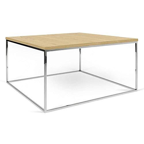 TemaHome Table Basse carrée Gleam 75 Plateau chêne Clair Structure chromée