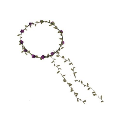 Guirlande Couronne Auréole Florale de Branche de Fleurs Roses pour Festival Mariage Outil de Photographie Taille Adulte (pourpre + vert)