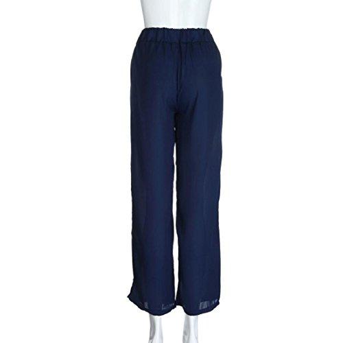 Culater® Femmes Pantalon Palazzo Jambe Large Pantalons Casual Taille Haute été Grandes Tailles Pantalon Longues bleu foncé