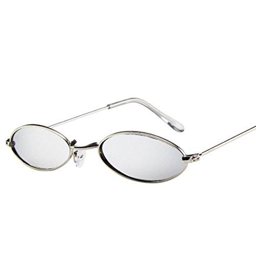 VENMO Mode Herren Retro kleine ovale Sonnenbrille für Damen Metallrahmen Shades Brillen Katzenauge Metall Rand Rahmen Damen Frau Mode Sonnebrille Gespiegelte Linse Women Sunglasses (G)