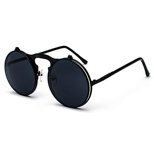 HYUHYU Runde Klapp Sonnenbrille Retro Männer Metallrahmen Rot Gelb Objektiv Zubehör Unisex Sonnenbrille Für Frauen