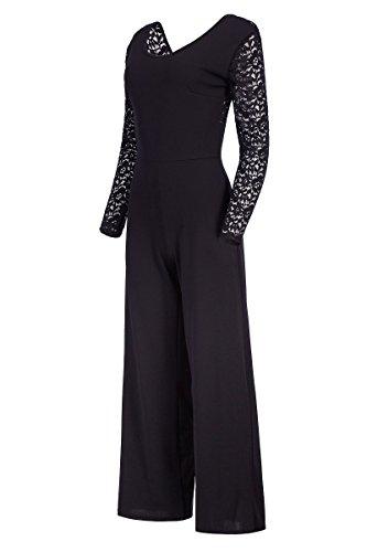 Eleganter Laeticia Dreams Damen Jumpsuit Einteiler mit Spitze Bootcut S M L, Farbe:Schwarz;Größe:36