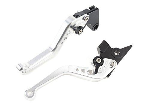Moto Frenos y Embrague CNC Corto Palanca Ajustable Aluminio para Sport Bike Yamaha FZ6 FAZER FZ1 FAZER FZ6R XJ6 Diversion FZ8 MT-07 MT-09/SR/FZ9 un par (F16/Y688) SPL077 (Silver)