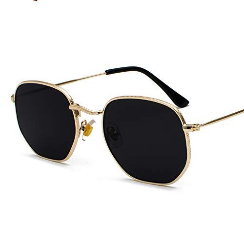 WJFDSGYG Gold Square Sonnenbrille Für Frauen Schwarz Silber Spiegel Sonnenbrille Für Männer Small Face Uv400 Metallrahmen
