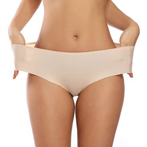 Woweny Nahtlos Slips Damen Mittler Taille Unterhosen Eisseide Frauen Elastische Panties Höschen 3-Stück, Hautfarbe, L -