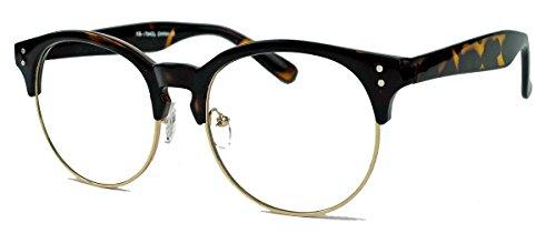 Nostalgische Brille Blogger Fashion Retro Stil Clear Lens Nerdbrille 50er 60er Jahre (Hornbrille)