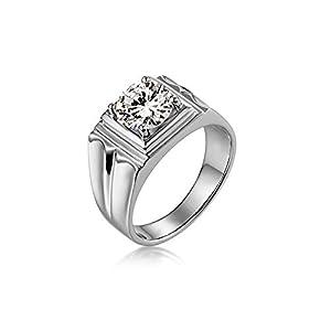 Beydodo Ring Herren 14K 4-Steg-Krappenfassung 2ct Moissanit Weißgold Verlobung Ringe
