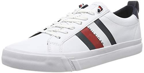 Tommy hilfiger flag detail leather sneak, scarpe da ginnastica basse uomo, bianco (white fm0fm02576/ybr), 43 eu