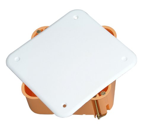 Kopp Hohlwand Abzweigkasten für den Trockenraum, 107 x 107 x 50 mm, Verbindungsdose mit Deckel und Schrauben,  IP20, Verbindungskasten aus Isolierstoff, weiß-orange, 349300005