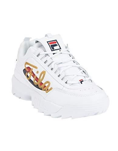 Fila - Modelo Disruptor II Premium Repeat - Zapatillas para mujer, Blanco Blanco, 40 EU