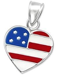 Liara Children`s Usa Flagge Anhänger Farbe + 925 Sterling Silber.Poliert und Nickelfrei