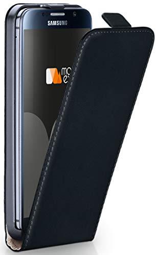moex® Flip Case mit Magnetverschluss [Rundum-Schutz] passend für Samsung Galaxy S6 | 360° Handycover aus feinem Premium Kunst-Leder, Schwarz (Vertikale Zeichen Zu öffnen)