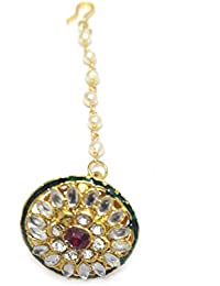 Indian Mores Red Stone And Kundan Studded Pin Matha Teeka Borla For Girls And Women