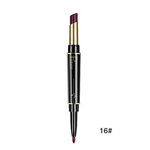 Innerternet Set De CosméTiques De Maquillage De Longue DuréE ImperméAble Crayon-Crayon à LèVres éTanche Double Boutonnage Lipliner ImperméAble 16 Couleurs (P)