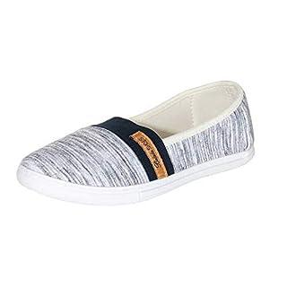 cleostyle Damen Ballerina Stoffschuhe sportliche Schuhe Freizeitschuhe Slipper Flache Sneaker / 50 (39, Dunkelblau)
