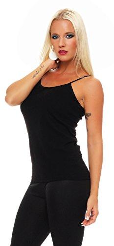 (2er Pack) Damen Hemd (Unterhemd / Träger Top) Nr. 429 ( Schwarz / 56/58 (XXXL) ) - 2