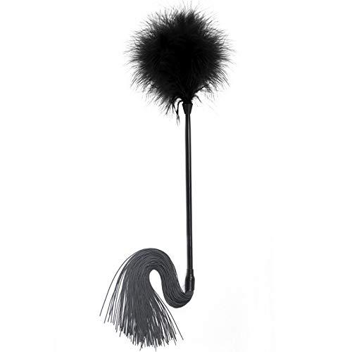lianji Flirting-Spielzeug zum Necken künstliche Federn Kitzel Peitsche Crop Spanking Slapper Sexspielzeug Love, Schwarz, Approx. 45cm