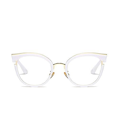 MoHHoM Sonnenbrille Fashion Cat Eye Lesen Brillen Optische Gläser Frames Neue Vintage Brille Frauen Brand Design, Klare Gläser Gläser Uv 400 Weiß Klar