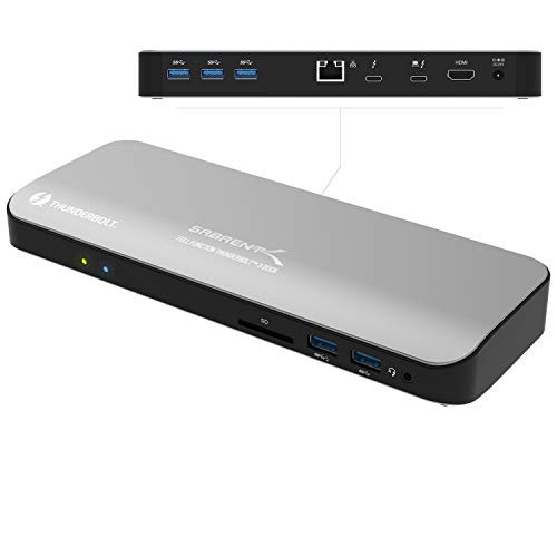 Sabrent Thunderbolt 3 Docking Station with Power Delivery up to 60W Charging for Windows/MacOS Devices - Dual-4K Display (DS-TH3C)