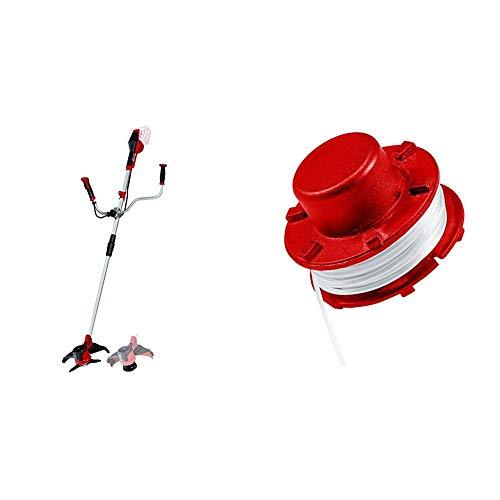 Einhell Akku-Sense AGILLO Power X-Change Rasentrimmer, 2 x 18 V, max. Drehzahl 6300 min-1 plus Ersatzfadenspule passend für Akku-Rasentrimmer (Länge 8 m, aus Nylon, Durchmesser 2 mm) (8 Split-power-kabel)