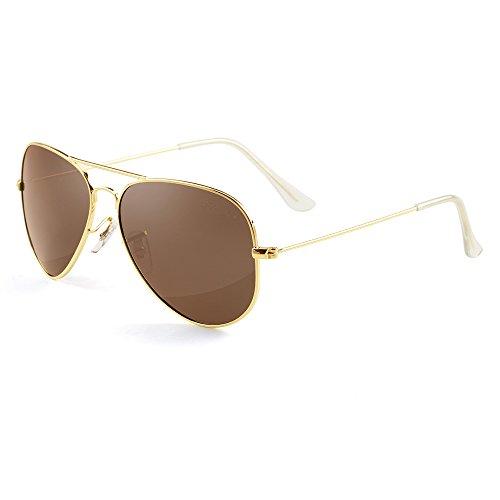 Grey Jack Polarisierte Pilotenbrille Sonnenbrille Modebrille für Männer Frauen Gold Rahmen Braun Linse 58mm