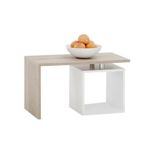FMD Model 627-001- Tavolino basso a L, con scompartimento a giorno, colore: Quercia/Bianco