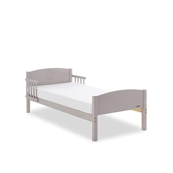 Obaby Star Toddler Bed and Foam Mattress - Warm Grey Obaby Subtle and stylish design engraved into the toddler beds head end Side rails offer extra safety and reassurance Suitable from 18 months to approximately 4 years 3