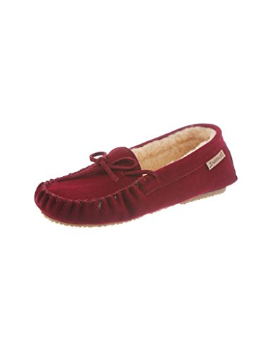 BEARPAW Women's Ashlynn Regular Suede Casual Shoe/Slipper Moccasins (10, Bordeaux) (Hausschuhe Bearpaw)