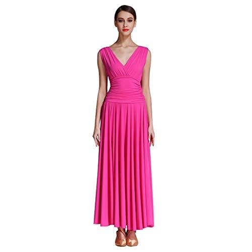 RJ Kleid Ärmelloses Standard-Gesellschaftstanzkleid mit V-Ausschnitt , Waltz Modern Performance Dancing Costumes Expansionsrock für Damen (Color : Rose Red, Size : L)