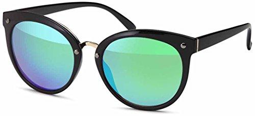 Sonnenbrille mit verspiegeltem Flachglas aus Polycarbonat Katzenaugen-Sonnenbrille - Im Set mit Etui...