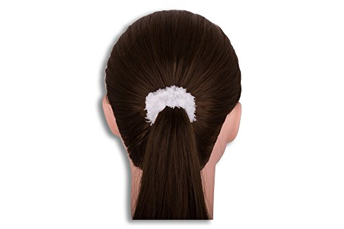 LUQX Frottee - Zopfabbinder, Zopfgummi Teddy 5er Pack (weiß) | Haargummi für Mädchen & Damen (Haargummi Weißer)