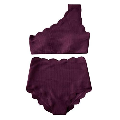 BURFLY Mode Damen Badeanzug, Frauen Vintage Badeanzug Hoher Taille Wellenschliff und Einer Schulter Zweiteiler Bikini Set -