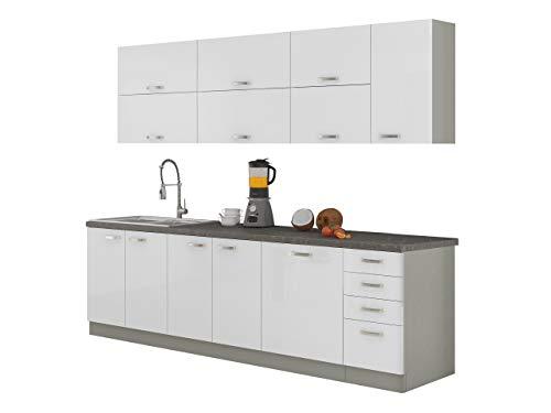Mirjan24  Küche Multiline IV, 260 cm Küchenblock/Küchenzeile mit Arbeitsplatte und Spühlbecken, 7 Schrank-Module frei kombinierbar (Grau/Weiß Hochglanz)