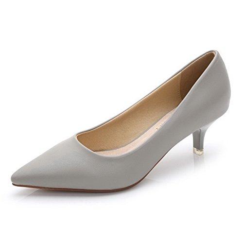 AalarDom Femme Couleur Unie à Talon Correct Tire Pointu Chaussures Légeres Gris-Pu Cuir