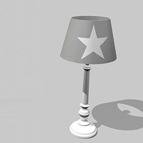 Kinder-Tischlampe aus der ROOMSTAR® - Kollektion, mit weißem Stern, grau/weiss, Höhe: 45cm
