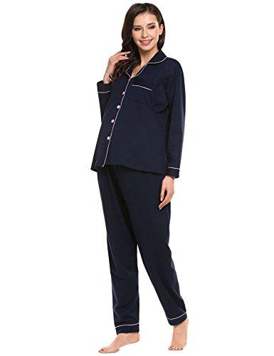 Untlet Damen Stillpyjama für Schwangere Maternity Nursing Nachtwäsche Set