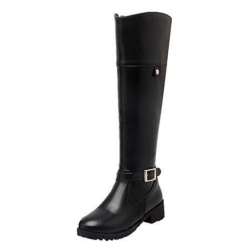 Mee Shoes Damen runde Reißverschluss langschaft chunky heels Stiefel Schwarz