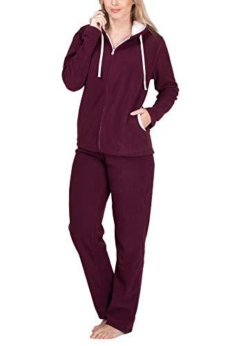 SLOUCHER Fleece-Anzug Hausanzug aus wärmenden Fleece für Damen, Größe:36/38 ( S ), Farbe:Bordeaux