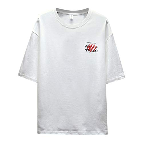 Crazboy Herren Sommer modische einfarbige Kurzarm Komfortables Hemd(Medium,Weiß-C)
