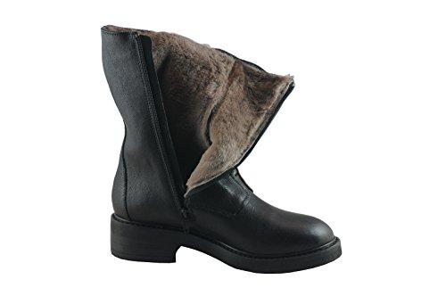 Manas Damen Stiefel 4001TA schwarz Leder Lammfellfutter, Gummisohle Schwarz