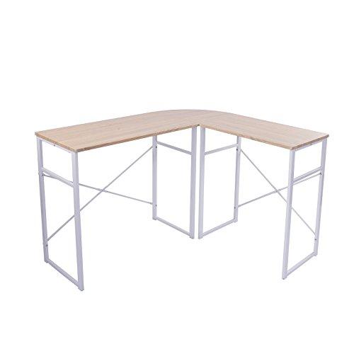 SITU SCD0020 Schreibtisch L-Form Eckschreibtisch Computertisch Winkelschreibtisch Bürotisch Holz Stahl Hell Eiche (Metall In L-form Schreibtisch)