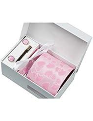 Coffret Cadeau Cupidon - Cravate rose avec cœurs roses, boutons de manchette, pince à cravate, pochette de costume