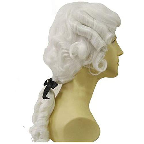 Colonial Frauen Kostüm - ZYC1 Geschweifte weiße männliche Anwalt Richter Colonial Deluxe Historisches Kostüm synthetische Cosplay Perücke für Halloween