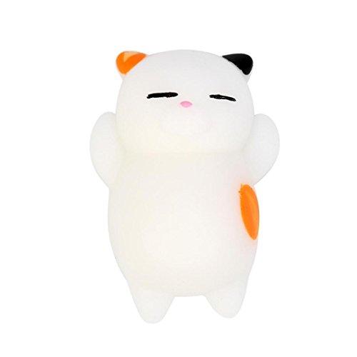 Venta caliente ! Lindo Mochi gato blando,FeiXiang Cute Mochi Squishy Cat Squeeze Healing Fun Kids Kawaii Toy Stress Reliever Decor (D)