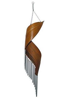 Klangspiel Windspiel Blatt silberne Röhren 80 cm