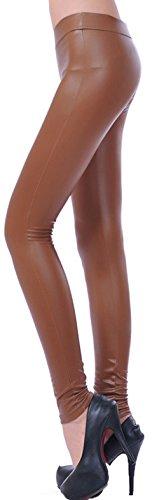 Krautwear Damen Mädchen Hose Leggings Jeggings Eng Ohne Muster Leder Look Schwarz Khaki Pink Blau Rot Silber 32 34 36 38 Khaki
