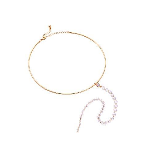 WY-EHSP Legierungs-Überzug-einfacher justierbarer Perlen-hängender Halsketten-weiblicher