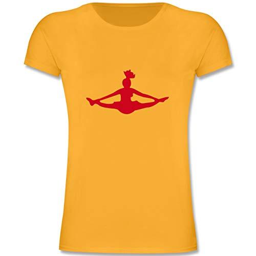 Sport Kind - Cheerleading - 128 (7/8 Jahre) - Gelb - F131K - Mädchen Kinder T-Shirt -